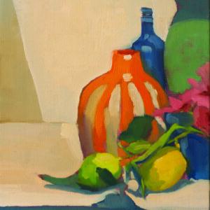 Orange Striped Vase, Lemons from Garden by Erin Lee Gafill