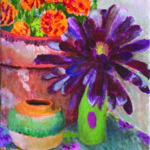Magenta Succulent, Orange Flowers in Terra Cotta Pot by Kaffe Fassett