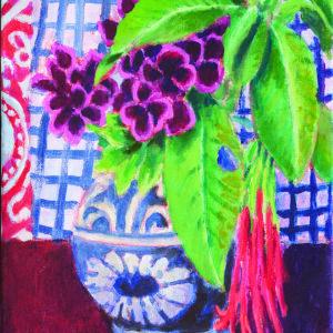 Tropical Bouquet, Checkered Cloth by Kaffe Fassett