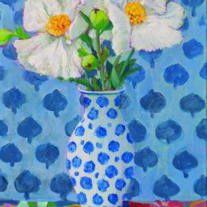 Matilijas in Blue Spotted Vase by Kaffe Fassett