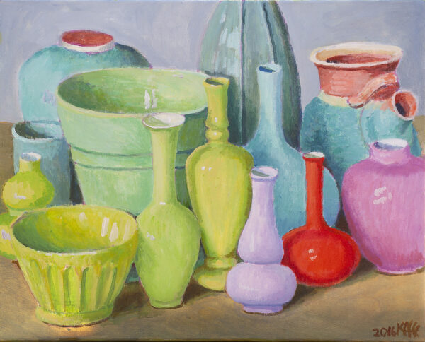 Vases in Greens and Pinks by Kaffe Fassett