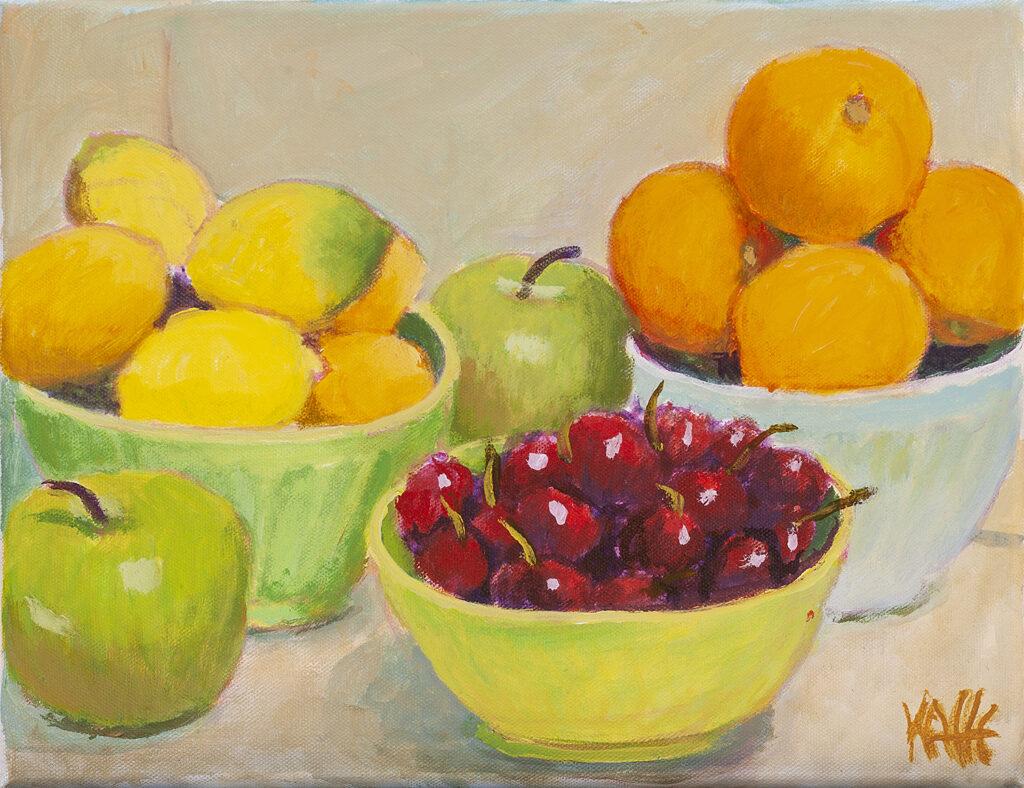 Bowl of Cherries, Green Apples by Kaffe Fassett