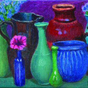 Bright Flower, Purple Wall by Kaffe Fassett