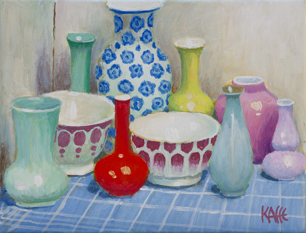 Patterned Pots on Checkered Cloth by Kaffe Fassett