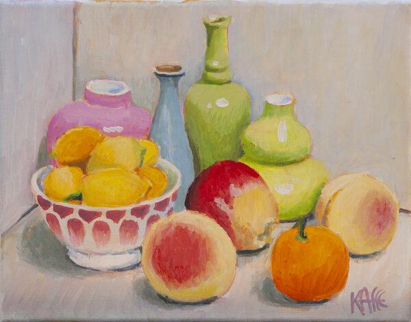 Bowl of Lemons, Pink Vase by Kaffe Fassett