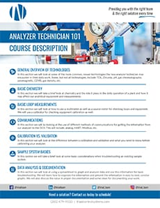 Triad Control Systems Analyzer Technician 101 Course Description