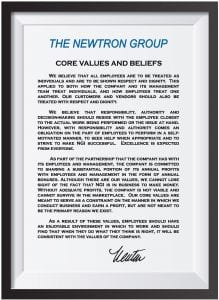 The Newtron Group Core Values and Beliefs