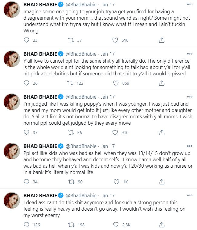 """""""Y'all Hating Asses"""" Bhad Bhabie Rants On Twitter"""