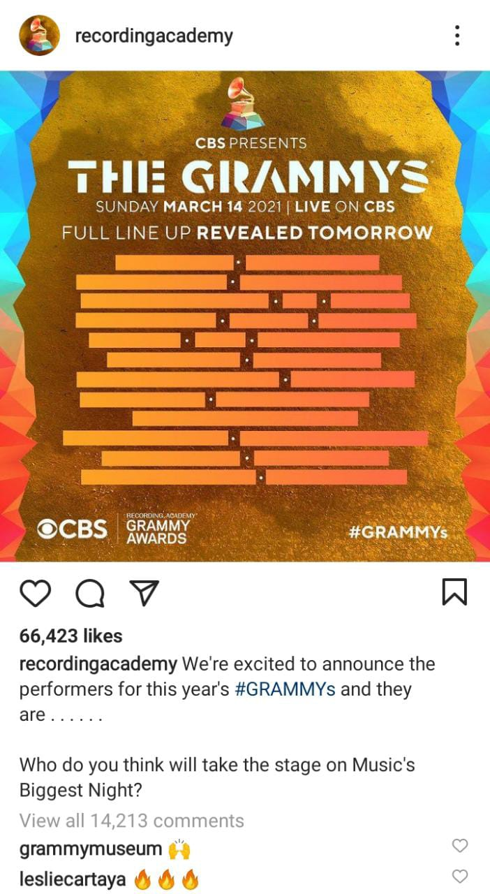 2021 GRAMMY Awards Show Full Lineup Announced!