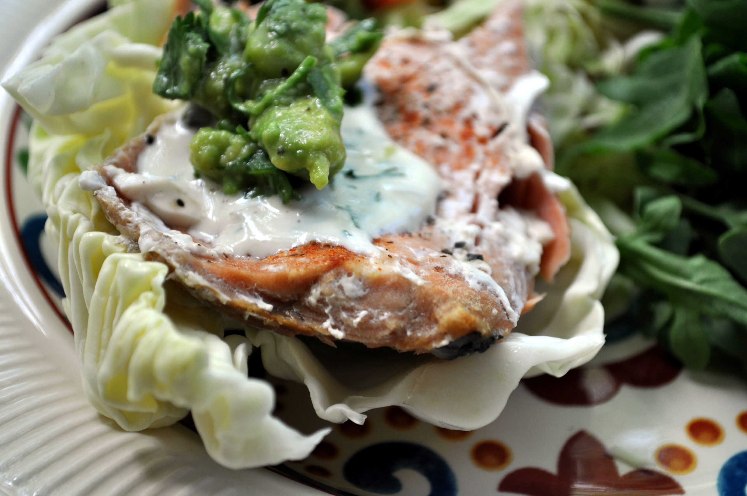 Low-Carb Bikini Diet Recipe: Salmon Salad Wraps with Coconut Dill Sauce and Smashed Peach Guacamole