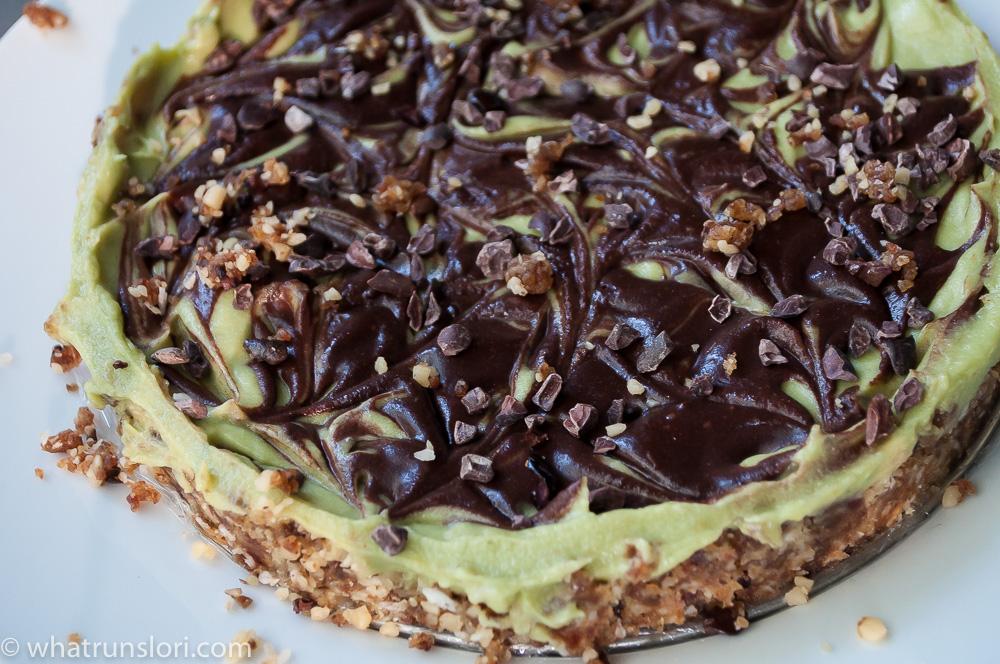 Avocado Ganache Cheesecake with Walnut Date Cacao Crust (Almost Raw & Paleo)