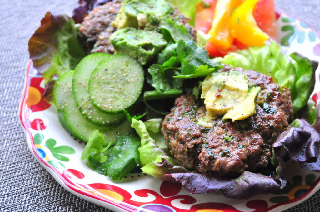 Best ever Paleo Burgers with avocado