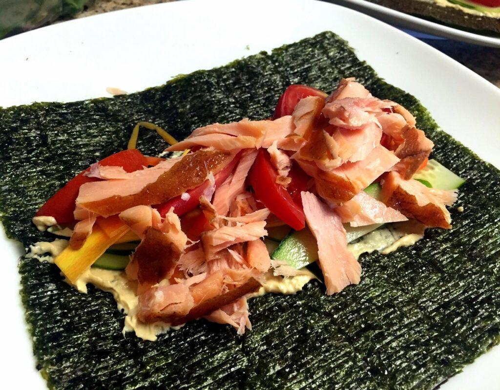 Paleo Smoked Salmon veggie Wrap