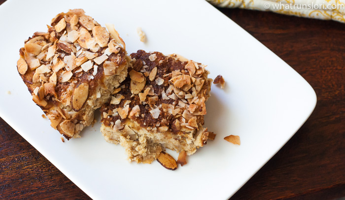 Paleo Peach Coffee Cake with Coconut Crumble Topping