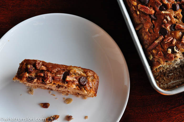 Chocolate Chip Pecan Banana Bread -whatrunslori.com