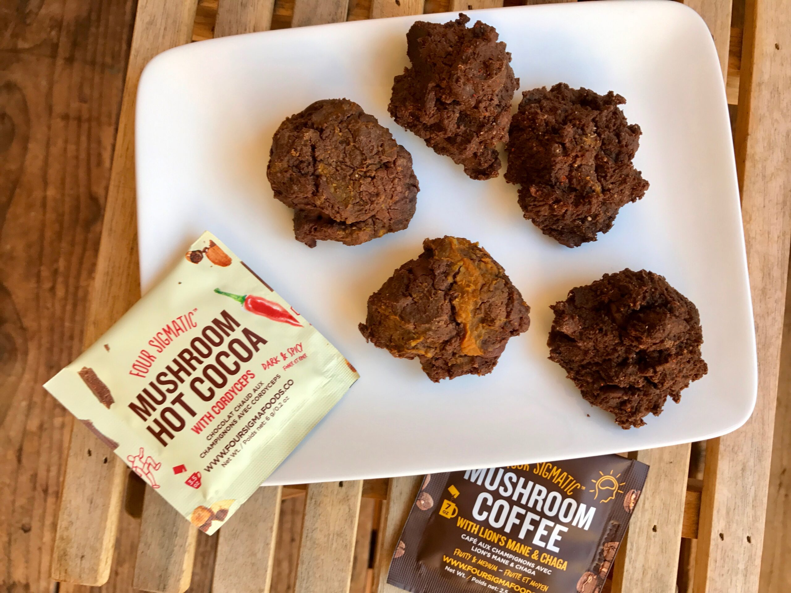Dark & Hot Chocolate Protein Paleo Cookies with Four Sigmatic Elixirs