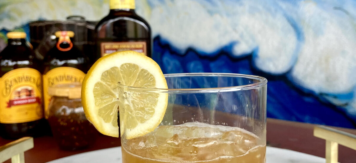 Fig Dark & Stormy with Rum + Pineapple Salsa