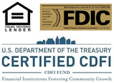 FDIC, Equal Opportunity Lender, Certified CDFI Logos
