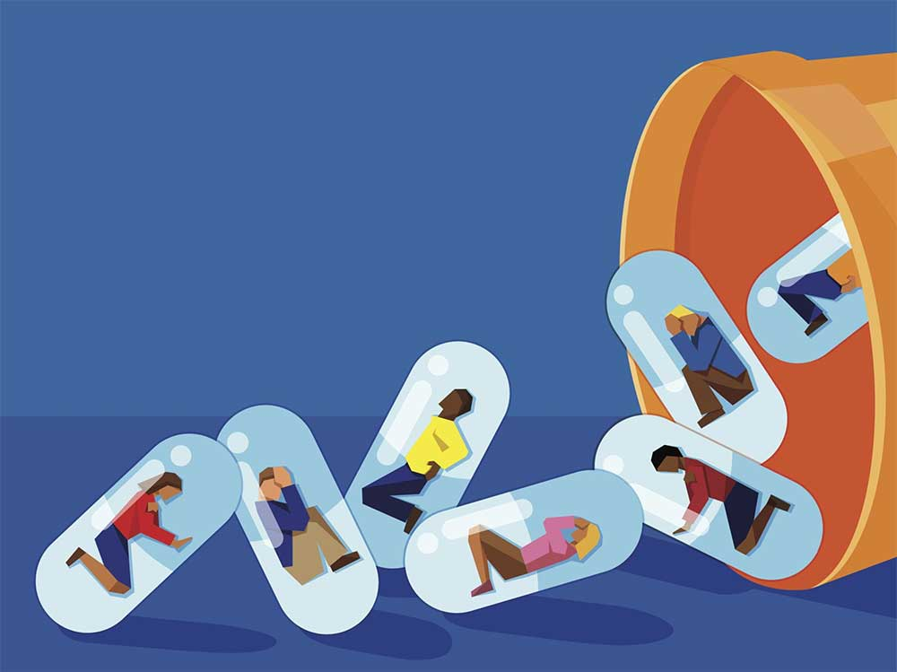 Illustration of people and pills