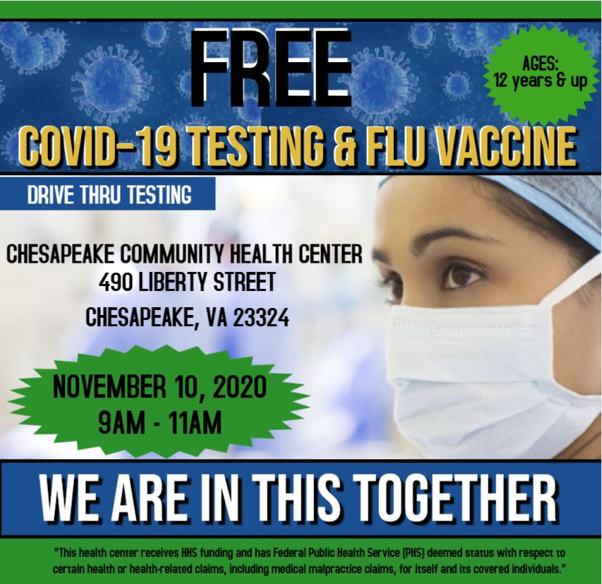 Covid-19 testing and flu vaccine flyer