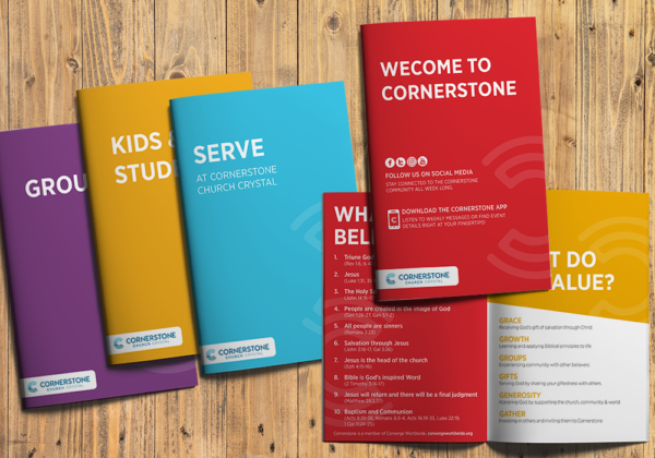 Cornerstone Church branding and print collateral