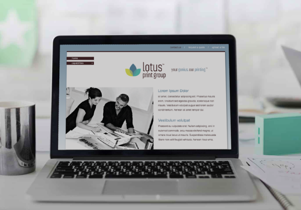 Lotus Print Group branding and print collateral