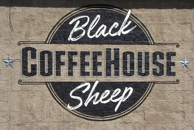 Exterior Wall Mural at Black Sheep Coffee House
