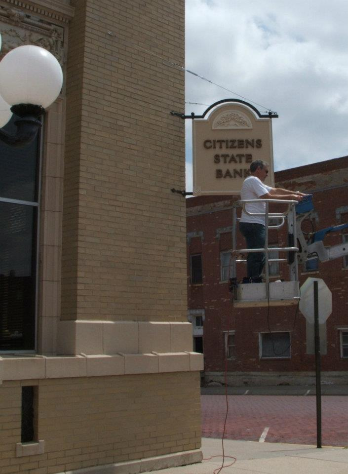 Installing the Citizens State Bank Sign