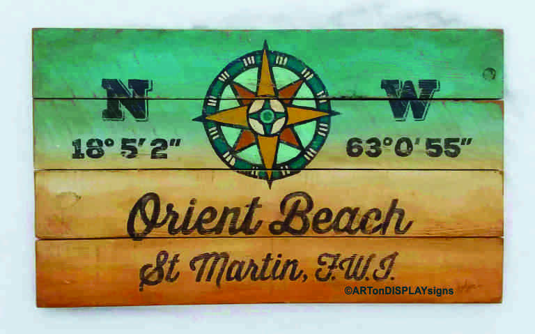 Geographic Latitude and Longitude GPS Distressed Beach Sign
