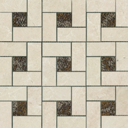 Beige (12×12 Sheet) Pinwheel Deco Mosaic Polished