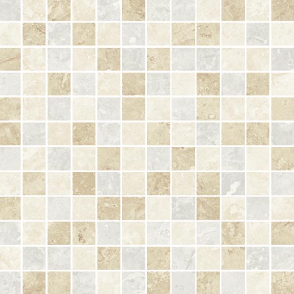 Ivory-Beige-Silver Mixed Semi-Polished Mosaic