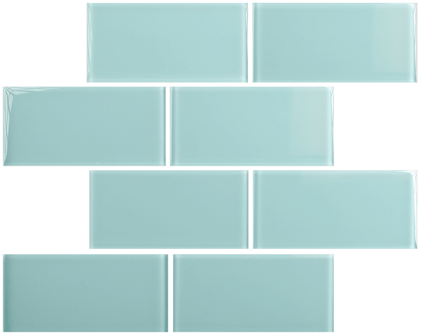 Crystal 3 x 6 Subway Tiles Marine Mist