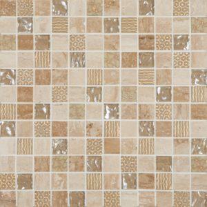 Cordoba Beige Deco Mix 1 x1 Mosaic 12 x 12 Sheet