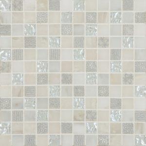 Cordoba White Deco Mix 1 x 1 Mosaic 12 x 12 Sheet