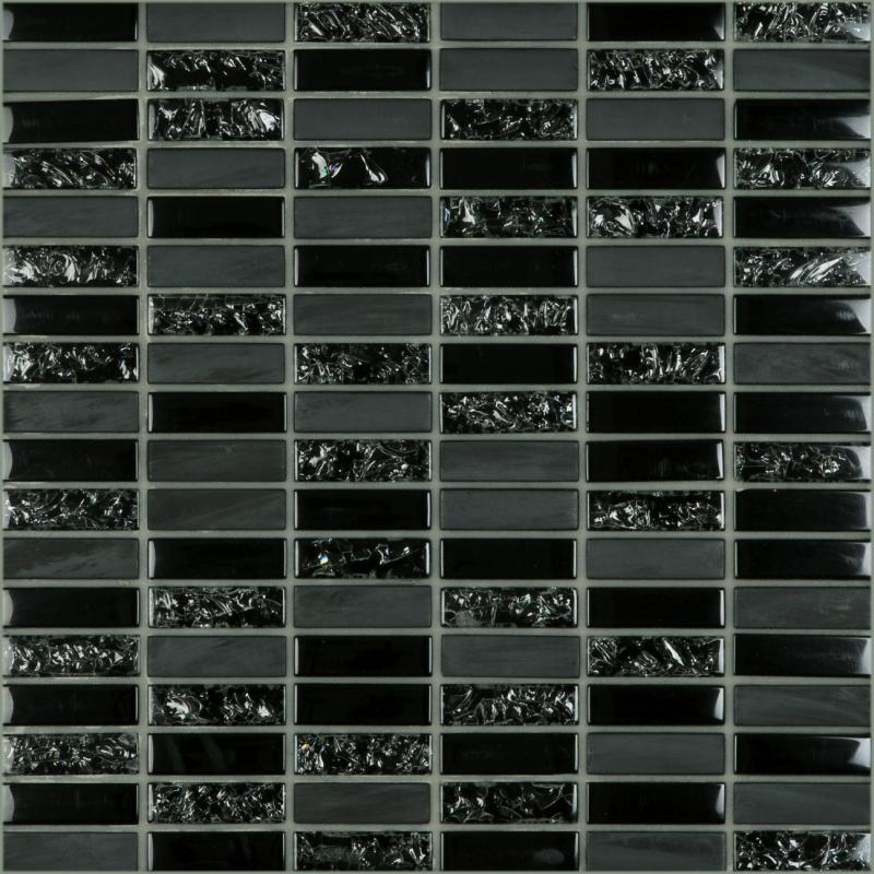 Crackle Black 1.8 x 0.6 Mosaic 12x12 Sheet