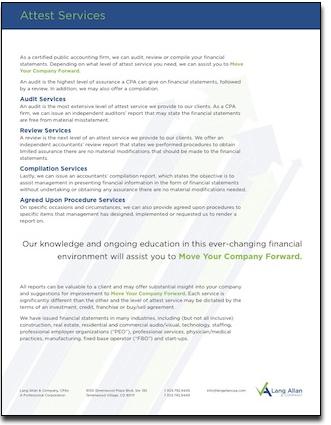 Lang Allan & Company Attest services slip sheet