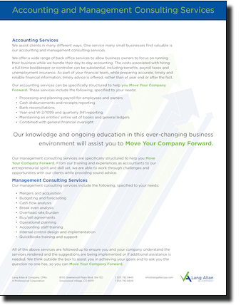 Land Allan & Company Accounting Mangement and Consulting Slip sheet