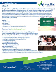 Lang Allan & Company professional services brochure cover