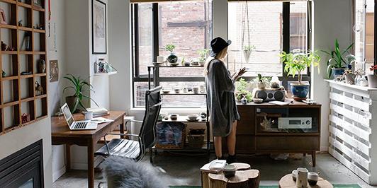 woman office alone