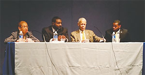 Left to right. Congresswoman Eleanor Holmes Norton, Anthony Driver, Julian Bond and Leighton Watson.