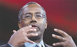 Ben Carson, former neurosurgeon, speaks at the 42nd annual Conservative Political Action Conference (CPAC) on Feb. 26 in National Harbor, Md. (OLIVIER DOULIERY/ABACA PRESS/TNS)
