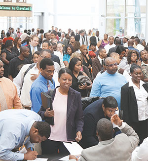 Cleveland, Ohio residents put their best feet forward at a 2014 jobs fair.(FLORIDA COURIER FILES)