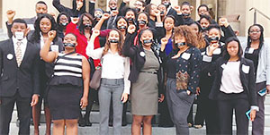 Members of the Nashville Student Organizing Committee at the Tennessee Capitol share a message that voter-ID laws silence students' voices on March 25, 2014, in Nashville, Tenn.(COURTESY OF NASHVILLE STUDENT ORGANIZING COMMITTEE)