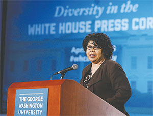 April Ryan, the White House reporter for the American Urban Radio Networks, speaks at a forum at The George Washington University co-sponsored by the White House Correspondents' Association on diversity in the White House Press Corps on April 28, 2014. (OLIVIER DOULIERY/ABACA PRESS/TNT)