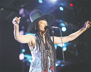 Erykah Badu was a crowd-pleaser at the music festival. She performed