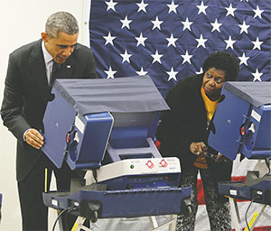 President Barack Obama casts his early votes at Dr. Martin Luther King Community Center in Chicago on Oct. 20, 2014. (ANTONIO PEREZ/CHICAGO TRIBUNE/TNS)