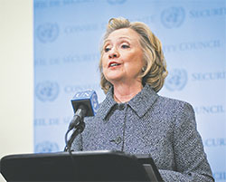 Former Secretary of State Hillary Clinton addresses the press after attending the annual Women's Empowerment Principles event at UN headquarters in New York on March 10.(NIU  XIAOLEI/XINHUA/SIPA USA/TNS)