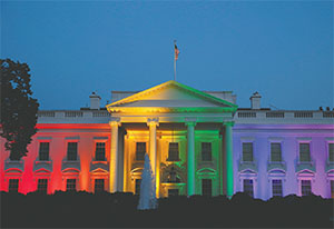 The White House was bathed in rainbow colors last week in honor of the U.S. Supreme Court ruling legalizing same-sex marriage nationwide.(THE WHITE HOUSE)