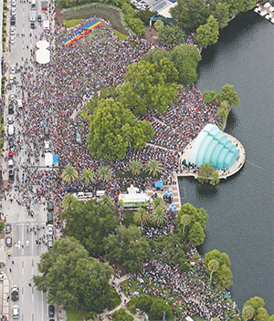 An aerial view shows the outpouring of people attending a Pulse nightclub shooting vigil in Orlando on June 19.(RED HUBER/ORLANDO SENTINEL/TNS)
