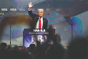Republican presidential candidate Donald Trump speaks at the NRA Leadership Forum on May 20 in Louisville, Ky. (MARK CORNELISON/LEXINGTON HERALD-LEADER/TNS)